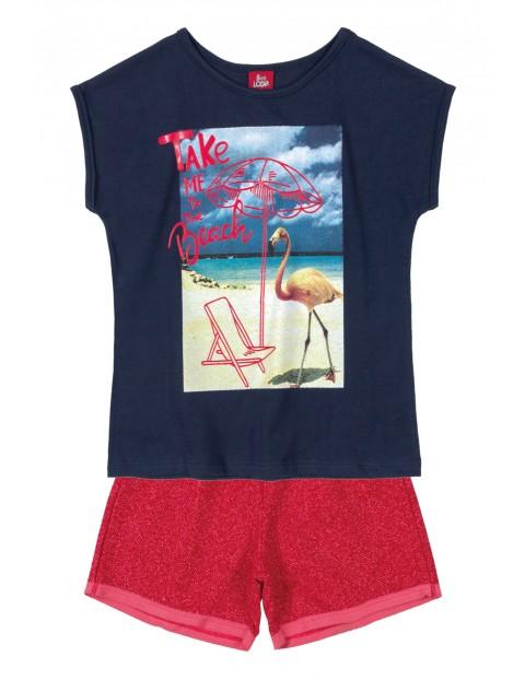 Komplet dziewczęcy t-shirt z flamingiem i spodenki
