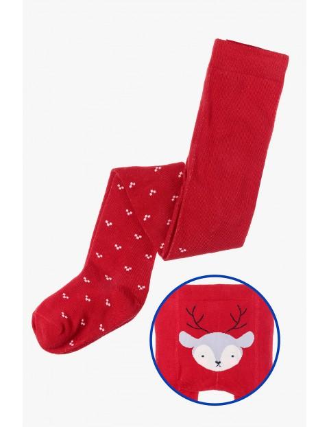 Czerwone świąteczne rajstopy dla niemowlaka - Renifer