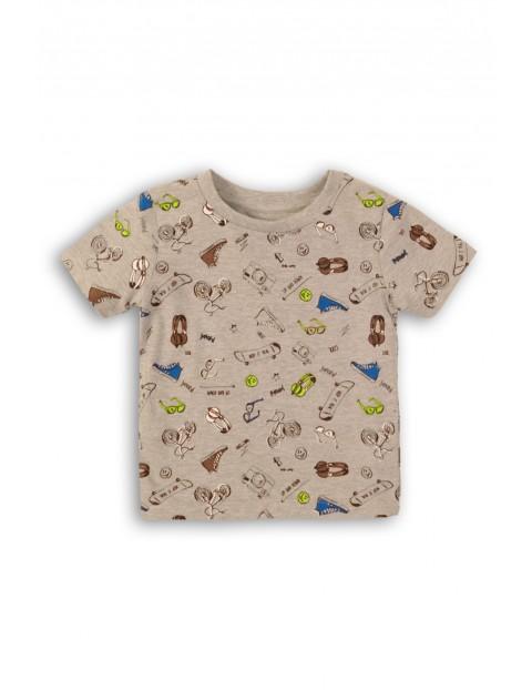 Szary t-shirt z nadrukami