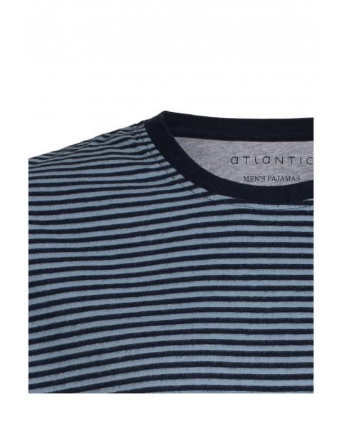 Piżama męska szorty i  t-shirt w paski Atlantic
