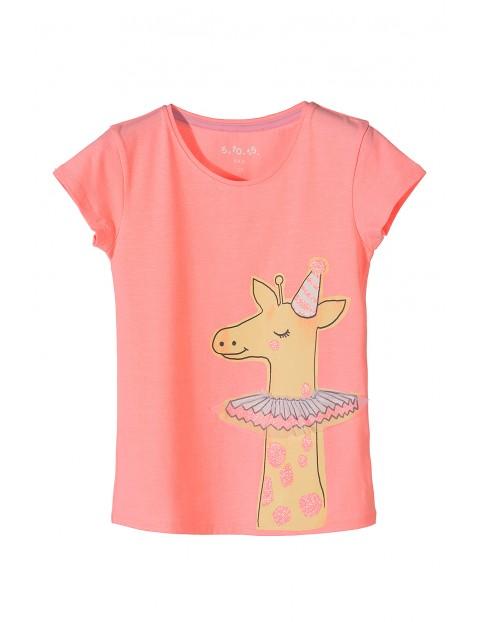 T-shirt dziewczęcy z żyrafą