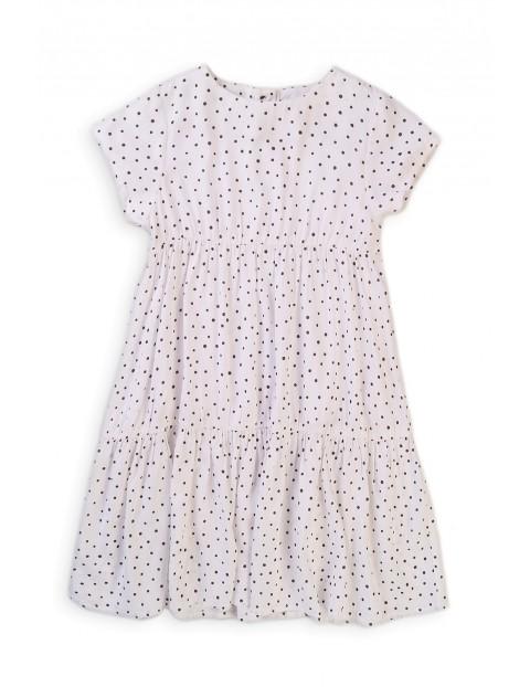Sukienka niemowlęca z wiskozy biała w kropki