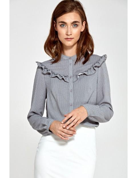 Szara bluzka damska w kropki z ozdobnymi falbankami