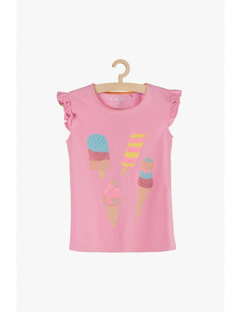Bluzka dziewczęca różowa z falbanka przy rękawach
