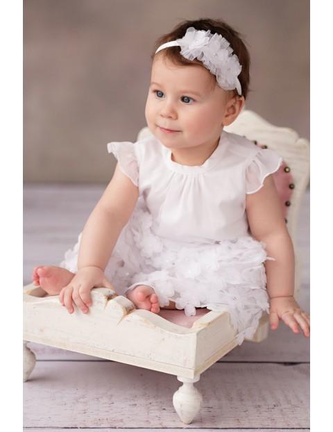 Biała elegancka sukienka niemowlęca do chrztu- Emili