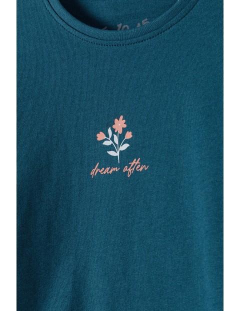 Granatowa bluzka dziewczęca z nadrukiem - długi rękaw