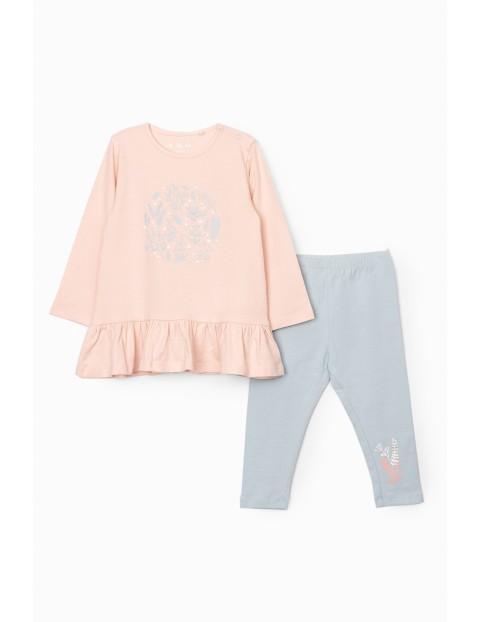 Komplet dziewczęcy  - tunika w kolorze różowym i legginsy z kwiatkami w kolorze niebieskim