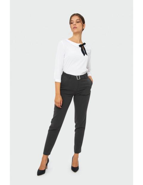 Eleganckie spodnie damskie z paskiem - szare