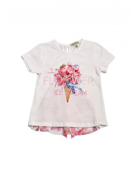 Koszulka dziewczęca z kolorowym nadrukiem i kokardką z tyłu