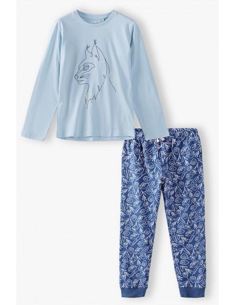 Bawełniana piżama dziewczęca z długim rękawem