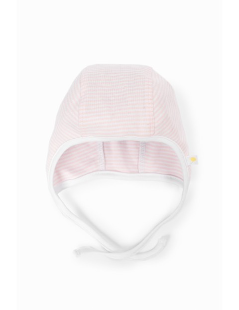 Czapeczka niemowlęca bawełniana w paski- wyprawka dla noworodka