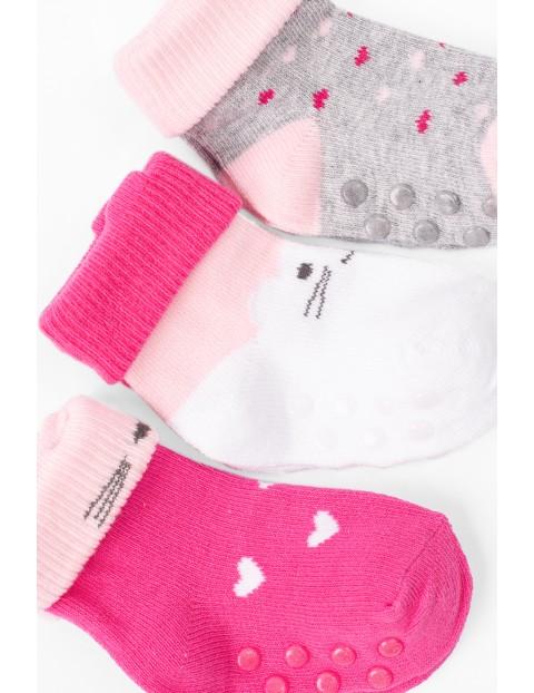 Skarpetki dla niemowlaka- różowo-szare z ABSem