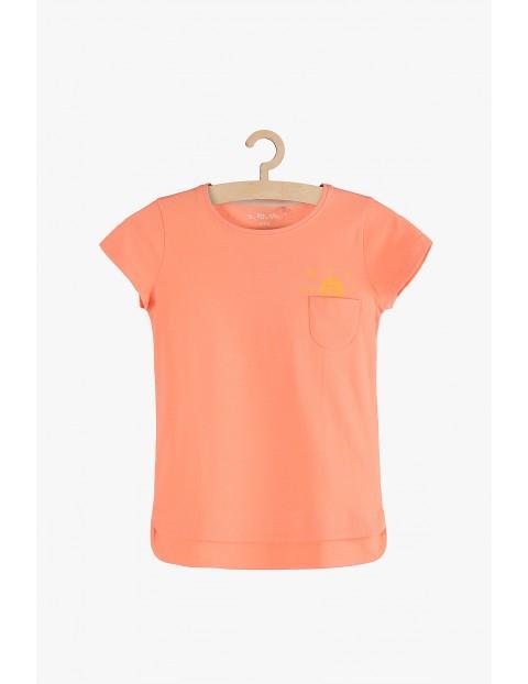 T-shirt dziewczęcy pomarańczowy z ozdobną kieszonką