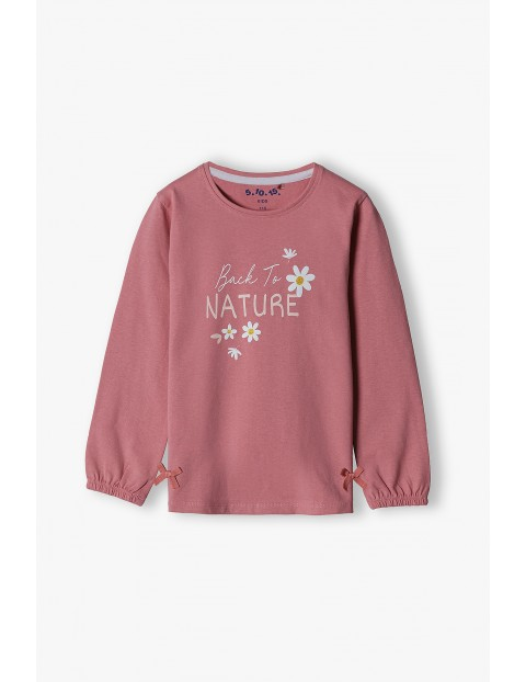 Bawełniana bluzka dziewczęca na długi rękaw z kwiatkami i z napisem Back to nature - różowa