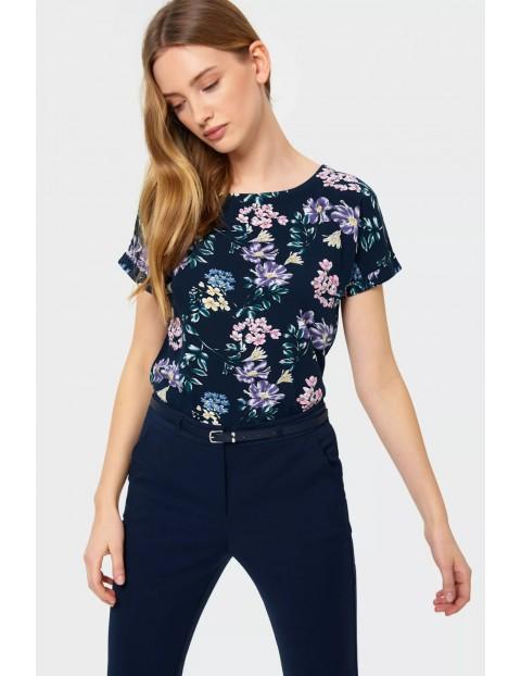 Bluzka damska z kwiecistym wzorem- granatowa