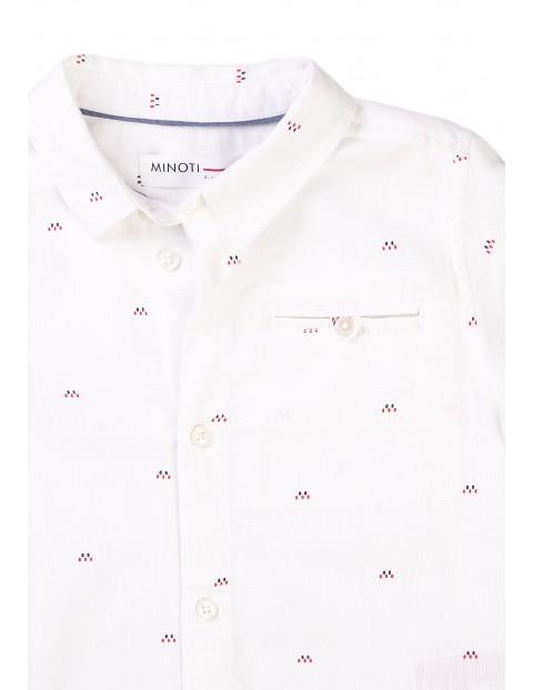 Biała koszula na krótki rękaw w delikatne wzorki