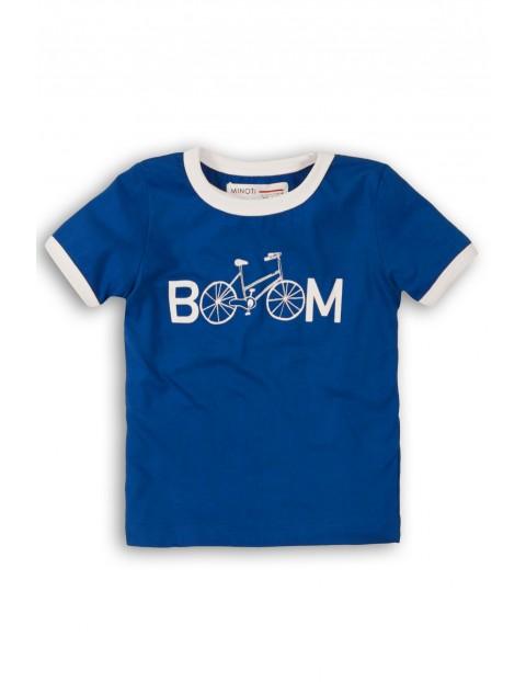 T-Shirt niemowlęcy niebieski z napisem - Boom