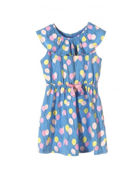 951f34ed4a Sukienka dziewczęca bawełniana niebieska w kolorowe baloniki