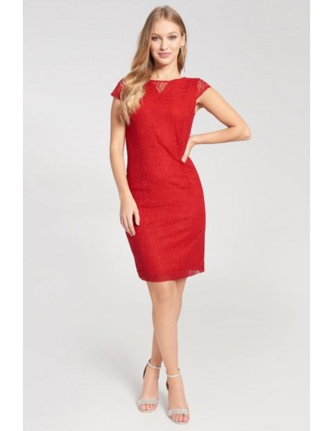Sukienka damska czerwona z koronkową warstwą