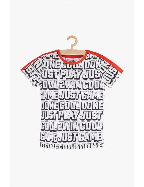 T-shirt dla chłopca- biały z napisami
