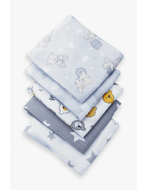 Bawełniane pieluchy z tetry szare 5-pak