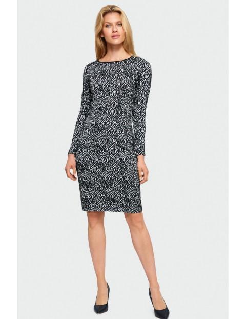 Wzorzysta sukienka ołówkowa - czarno-biała
