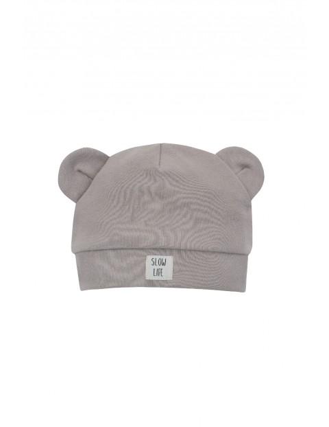 Bawełnianka czapka z uszkami SLOW LIFE