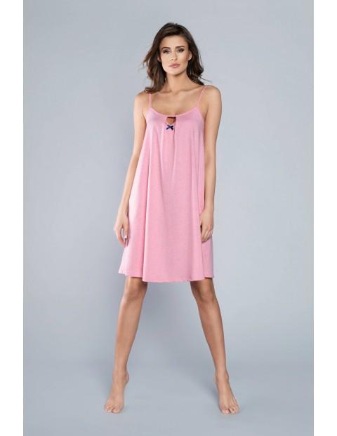 Różowa koszula nocna damska na cienkie ramiączka
