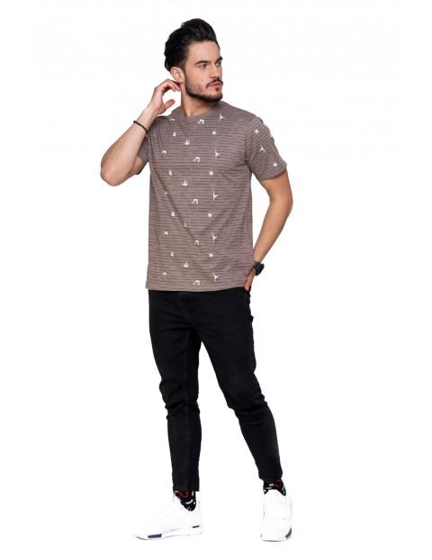 Bawełniany T-shirt z humorystycznym nadrukiem w leniwce