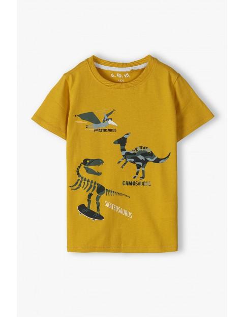 Bawełniany t-shirt chłopięcy w kolorze żółtym z dinozaurami