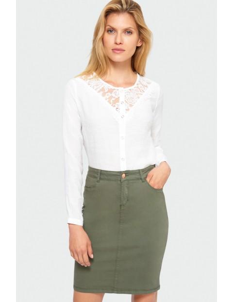 Elegancka bluzka, rozpinana - biała z koronkową górą