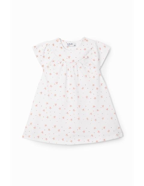 Sukienka niemowlęca we wzorki - biała