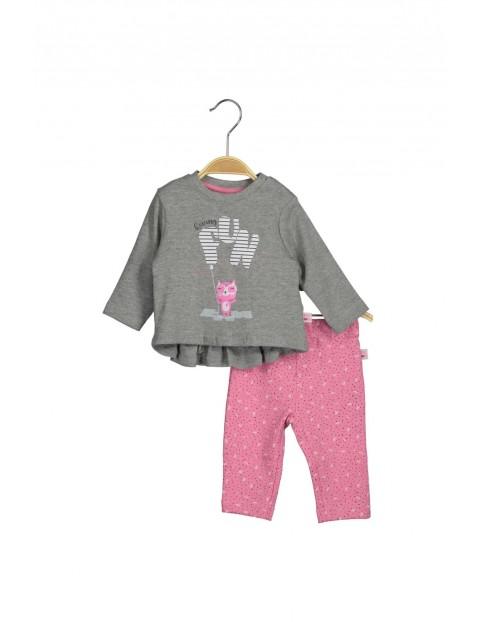 Komplet dziecięcy tunika i różowe spodnie z dzianiny