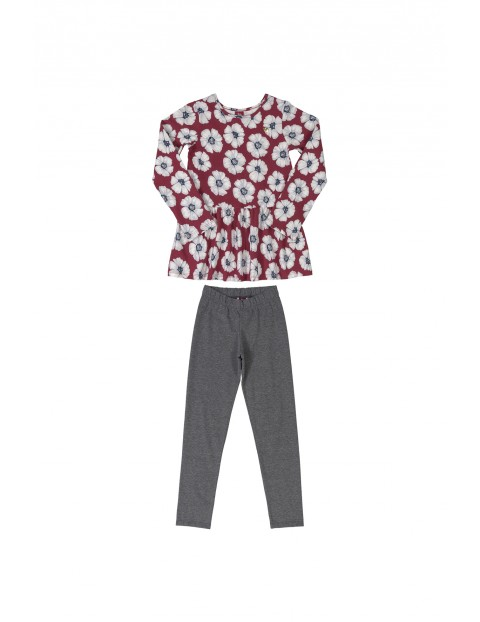 Komplet dziewczęcy - bluzka w kwiaty i spodnie dzianinowe