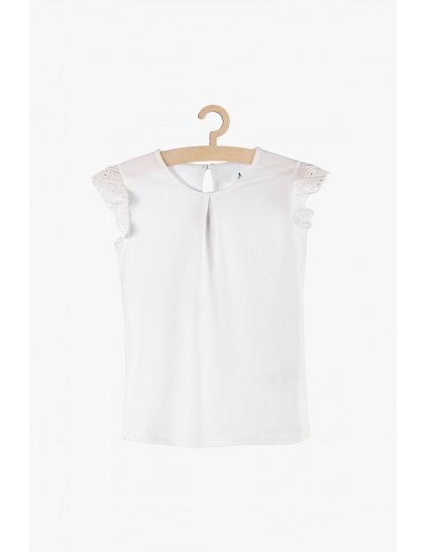 Bluzka dziewczęca biała z ozdobnym rękawem