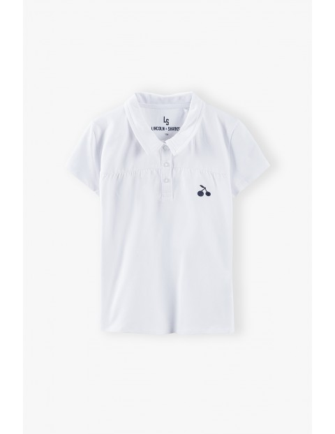 T-shirt dziewczęcy z kołnierzykiem - biały
