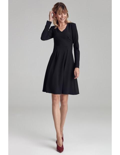 Sukienka z dwoma kontrafałdami - czarna