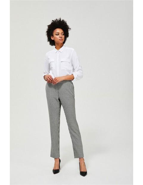 Spodnie w pepitkę z gumą w pasie
