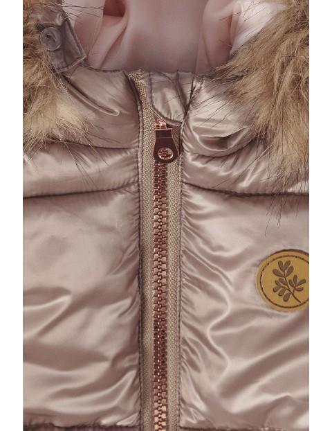 Kurtka zimowa dla dziewczynki-brązowa z elementami odblaskowymi