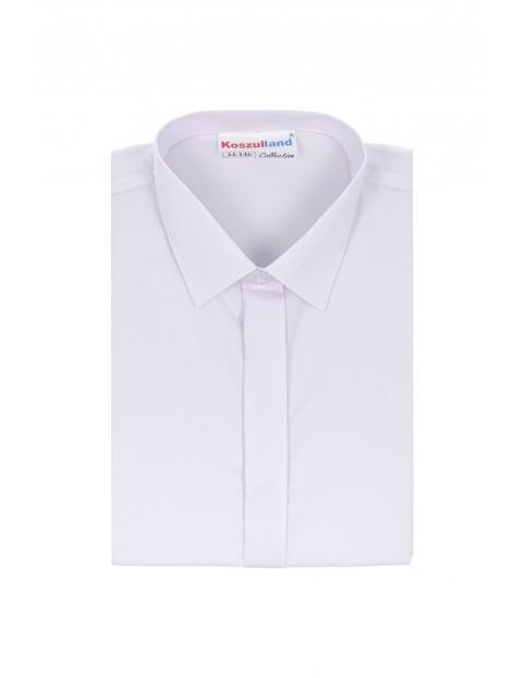 Koszula chłopięca biała z krytą plisą- długi rękaw