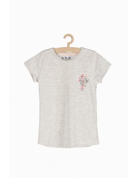 Szaro-melanżowy tshirt dziewczęcy z delikatną aplikacją z przodu