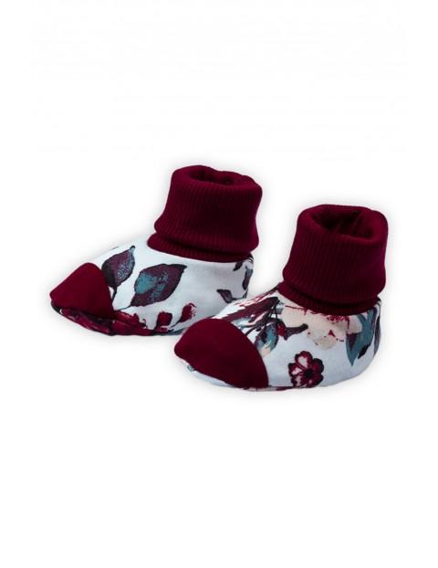 Butki dresowe niemowlęce w kwiatki  - bordowe