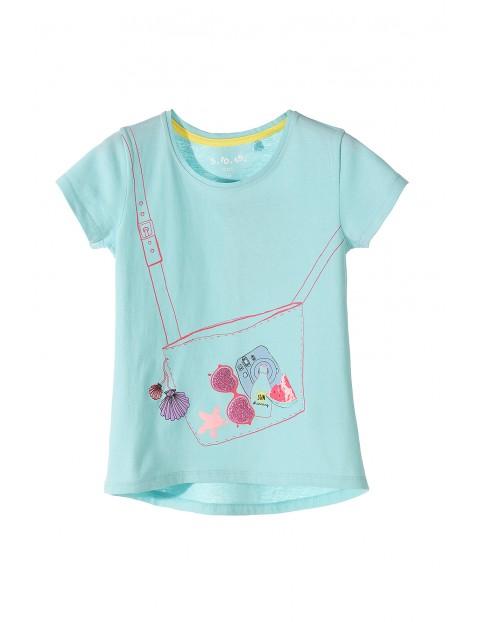 T-shirt dziewczęcy niebieski z kolorowymi nadrukami