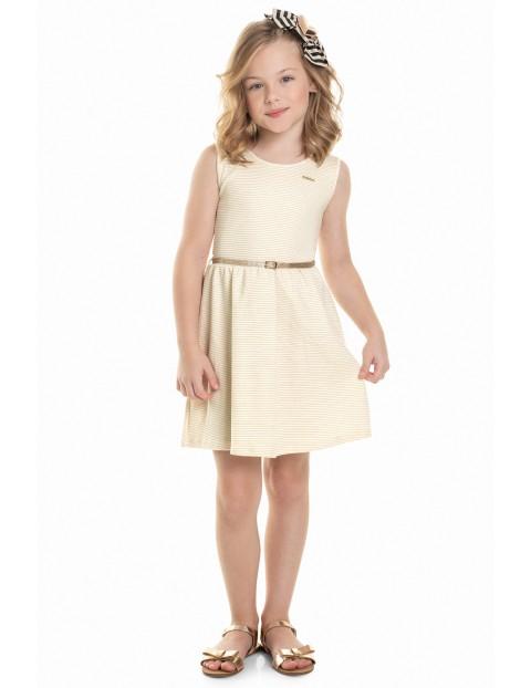 Sukienka dziewczęca ecru z paskiem