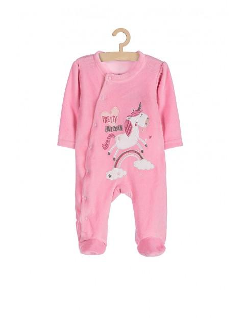 Pajac niemowlęcy różowy z jednorożcem