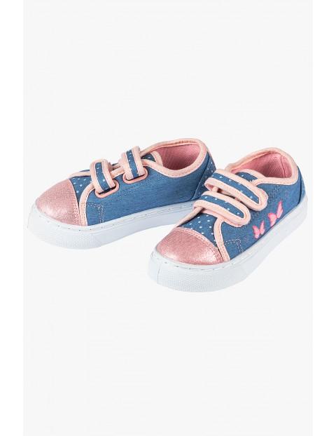 Trampki dziewczęce niebiesko-różowe zapinane na rzep