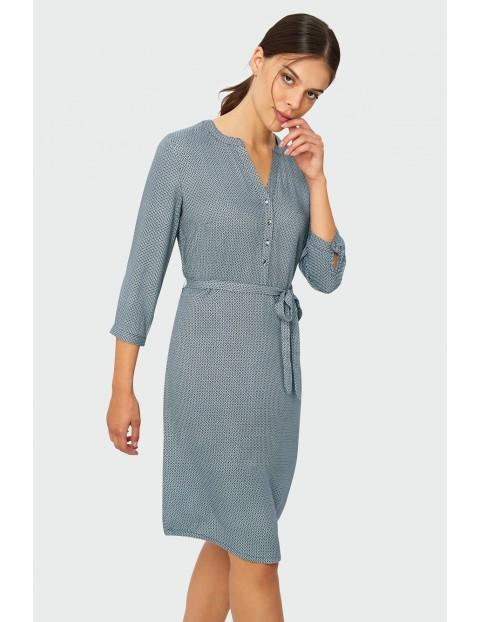 Wiskozowa sukienka damska wiązana w paskie