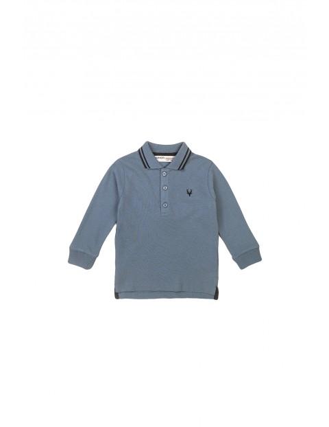 Bluzka chłopięca bawełniana z kołnierzykiem niebieska