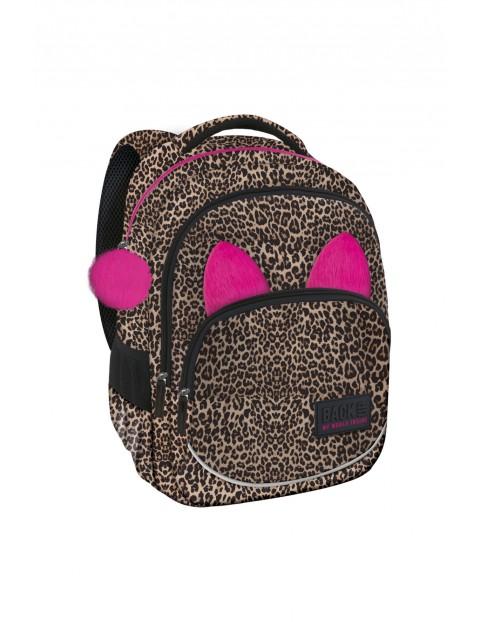 Plecak dziewczęcy w panterkę z różowymi uszami