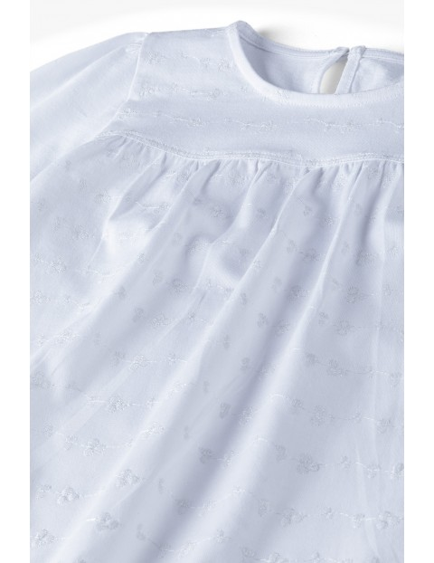 Elegancka biała bluzka dziewczęca z długim rękawem